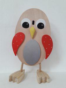 Chouette jouet en bois aux yeux interchangeables, rouge,argent,noir et blanc
